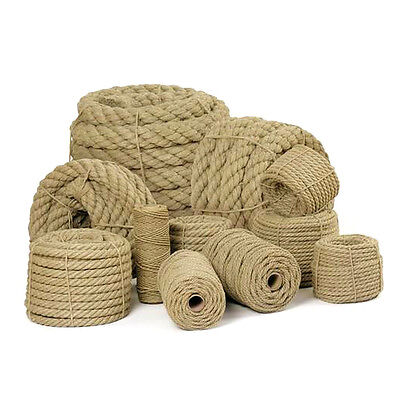 50m of 8mm Natural Jute Hessian Rope Braided Twisted Boating Sash Garden Decking