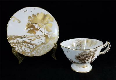 HAMMERSLEY England #4927 GOLD on WHITE SCENIC CUP & SAUCER Trees, Birds