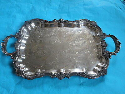 Vintage Birmingham Silver Co Silverplate Ornate Footed Butler's Tray *Stunning*