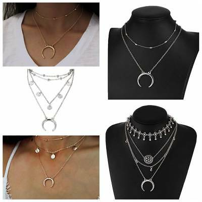 Women Fashion Gold/Silver Plated Multilayer Beads Crescent Moon Pendant Necklace