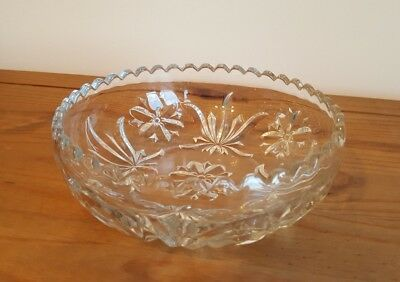 "Heavy Cut Glass Round Shaped Bowl with Wavy Edge 8.5""Diameter"