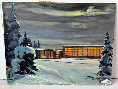 "18"" Oil Painting 1960s Bodiford Lucille Birmingham Goose Bay School Labrador NF"