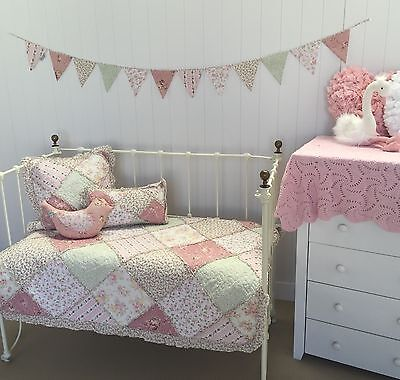 5pc Lila Girls Baby Cot Quilt Nursery Vintage Floral Shabby Chic Bedding