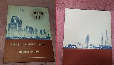 Annual Report - HUMBLE OIL & REFINING 1944 - WW2 - 32 pages STATEMENTS -FreeSHIP