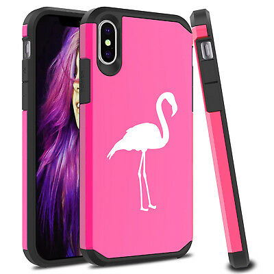 For Apple iPhone X XS MAX XR Shockproof SI Hard Case Cover Protector Flamingo