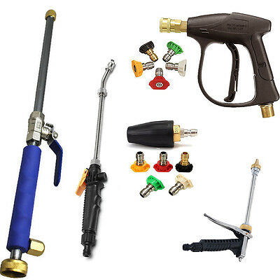 High-Pressure Spray Gun Power Washer Spray Nozzle Water Hose Wand Attachment Set