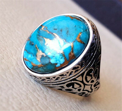 Vintage Copper Blue Turquoise 925 Sliver Ring Jewelry Wedding Engagement Sz6-10