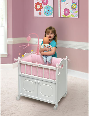 Doll Crib Badger Basket Doll Crib W/ Cabinet, Bedding, And Mobile - White/Pink