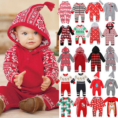 US 1PC Christmas Infant Baby Boy Girl Hood Romper Jumpsuit Sweater Warm Clothes