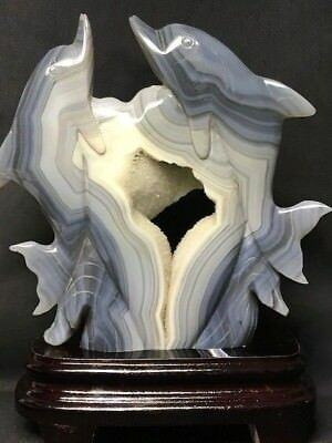"SPLENDID DOLPHINS WITH HEART CARVING from BRAZILIAN AGATE, 8 1/2 "" TALL"