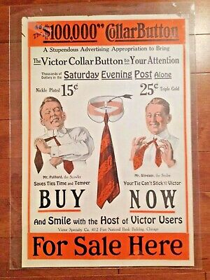 Vintage 1920's advertising sign/poster for Victor Collar Button