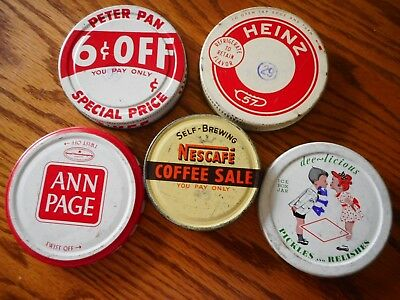 Lot of 5 VINTAGE JAR LIDS Heinz 57 Nescafe Coffee Pickles A&P Peter Pan