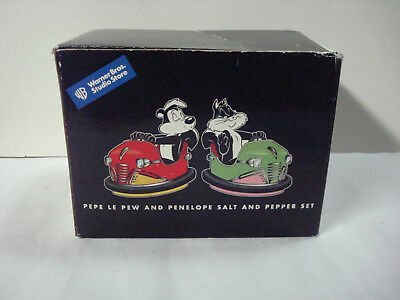 Warner Bros. Pepe Le Pew and Penelope Bumper Car Salt and Pepper Shakers.NEW.