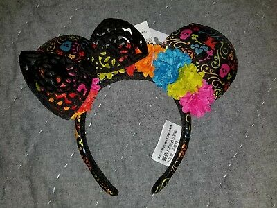 NEW Disney Parks Black Floral Lace Coco Dia de Los Muertos Minnie Ears Headband