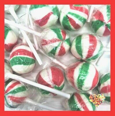 Christmas Ball Lollipops  50Ct Xmas Lollypops Red White Green Lollies Pops