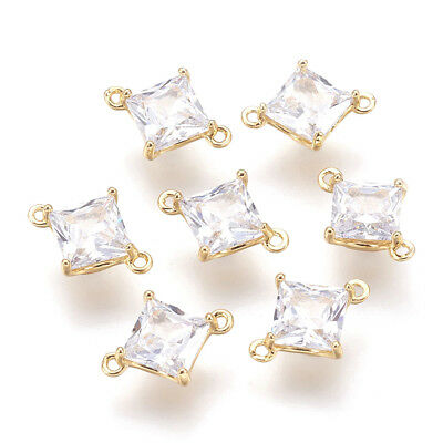 10pcs Gold Plated Brass Cubic Zirconia Charm Connectors 1/1 Loop Rhombus 10x8mm