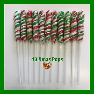 Xmas Twist Pops 48Ct Christmas Lollies Pops Lollypops Lollipops Red White Green
