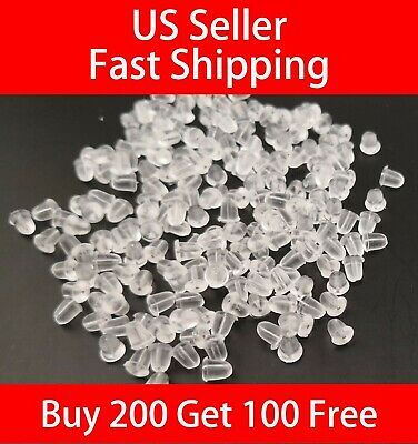 100PCS Soft Clear Silicone Earring Safety Back Plugs Stoppers Ear Post Nuts