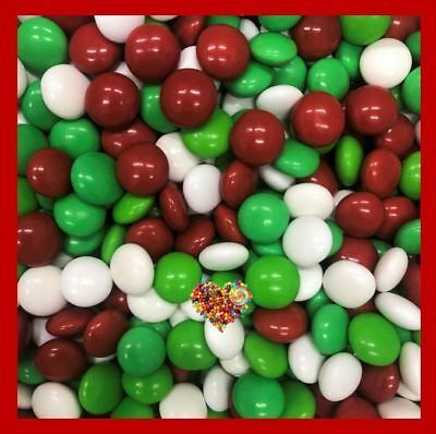 Christmas Chocolate Buttons Red White Green Choc Xmas Lollies 1Kg