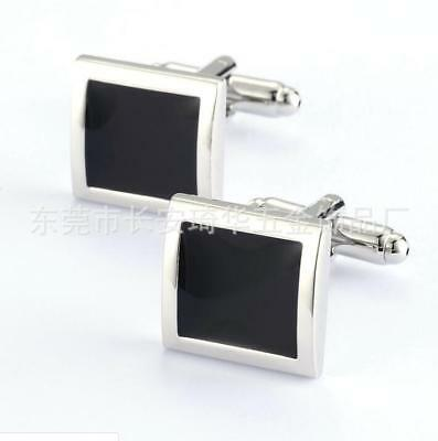 Mens Wedding Party Jewelry Gift Stainless Steel Silver Black Square Cufflinks