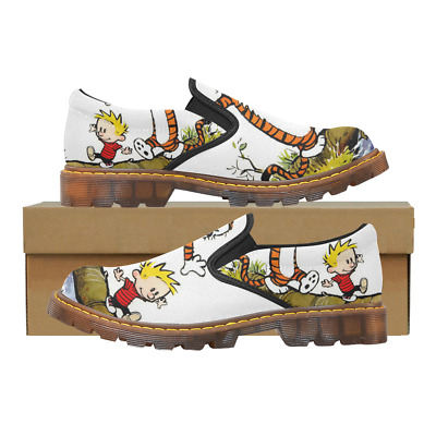 Custom Womens Slip On Loafer Calvin And Hobbes Shoes Comfy Ladies Casual Flats