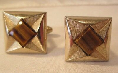 BEAUTIFUL PAIR of VINTAGE CUFF LINKS GOLD TONE with BIG TIGER'S EYE STONES