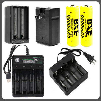 USA 9800mAh 18650 Rechargeable Batteries 3.7V Li-ion and Intelligent Charger