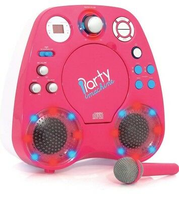 Party Machine PM208 CD with Graphic Karaoke System - Pink RRP £69.99