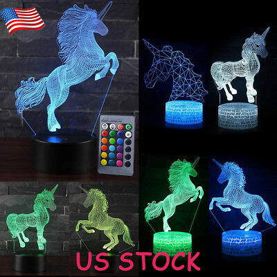 Remote Touch Control 3D LED Night Light Unicorn Lamp Colorful Change Gifts USA