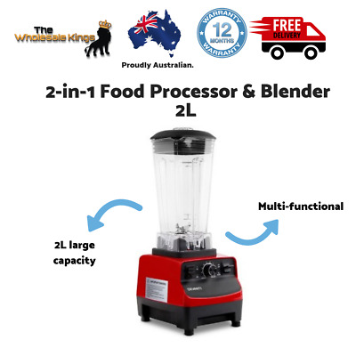 Devanti Commercial Food Processor Blender with Non-slip Rubber Feet - Red