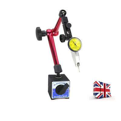 UK Useful Dial Test Indicator Gauge Scale Precision + Magnetic Base Holder Stand