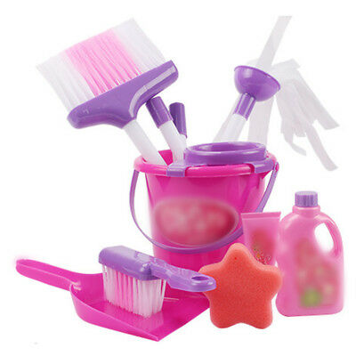 Girls Pretend Role Play Home Cleaning Toy Pink Bucket Dust Pan Brush Toy Set Kit