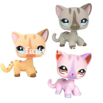 3pcs Littlest Pet Shop Short Hair Cat Kitty LPS Toy #886 #933 #468 Birthday Gift
