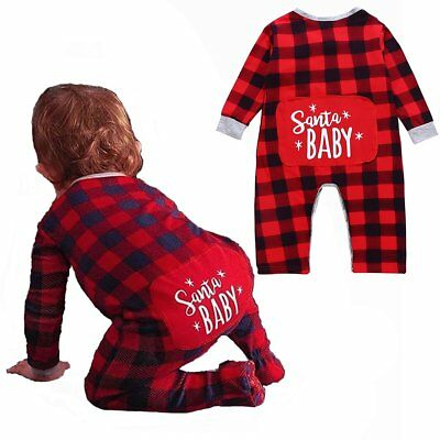 Xmas Toddlers Baby Boy Girl Jumpsuit Romper Bodysuit Cotton Clothes Outfits
