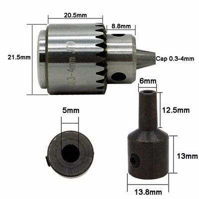 Mini Drill Chuck with Shaft Adaptor and Chuck Key For 0.3-4mm Drills 5mm Hole