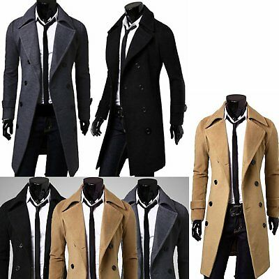 2018 Winter Men's Slim Stylish Trench Pea Coat Thick Double Breasted Long Jacket