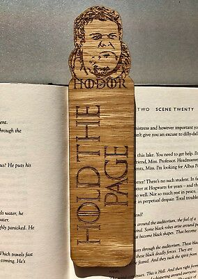 """Wooden Bookmarks Game Of Thrones Hodor """"Hold The Page"""" Christmas Present Gift"""