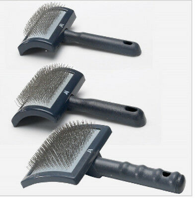 Millers Forge Dog Cat Curved Slicker Brush Stainless Steel Pins Mini, Reg, Large