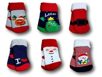 Infant Baby Toddler Girls Boys Terry Warm Christmas Winter Socks Size 0-9 Months