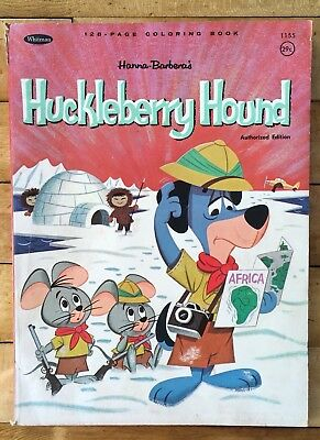 Vintage 1964 Hanna-Barbera Huckleberry Hound Coloring Book