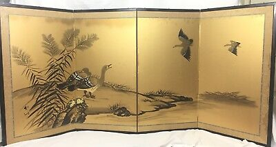 Vintage Japanese Chinese 4 Panel Folding Screen Byobu Painted 70x34 Birds Gold