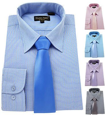 Men's Striped Shirt & Tie Cotton Rich Classic collar Formal Casual Long sleeve