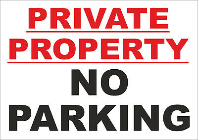 NO PARKING PRIVATE PROPERTY Red Sticker Sign New 192mmx144mm