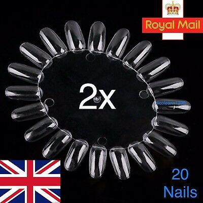 2x Nail Colour Display Wheel Polish Varnish Gel Practice Palette 40 Tips Clear