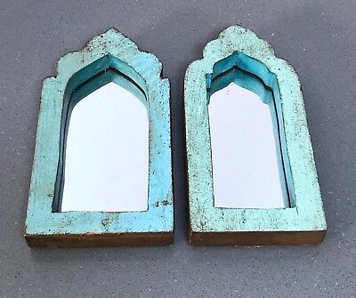 Antique/vintage Indian, Small Pair Arched Temple Mirrors.  Two-Tone, Turquoise.