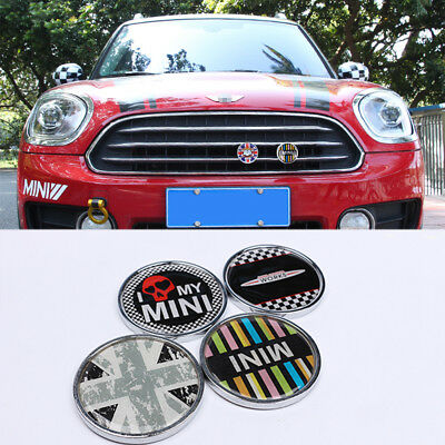 Union Jack Metal Hood Front Grille Grill Badge Emblem Universal For Mini Cooper