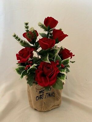Christmas Artificial Silk Flower Rose Hessian Pot Memorial Gift Delivered
