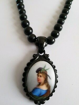 Antique Victorian  Rare Whitby Jet Unusual Ceramic Cameo Drop  Necklace