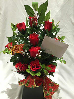 Christmas Artificial Silk Flower Bouquet in a Box Gift Dozen Red Rose Delivered