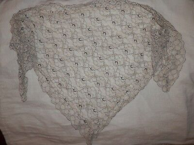 Vintage Ecru Cream Blue Lace Head Scarf Covering Triangle Mantilla Chapel Veil